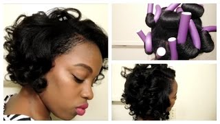 Soft twist rollers on relaxed hair